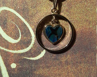 VERY CUTE NECKLACE - - Single Pendant - Blue Heart in Silver Ring - Adorable!