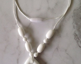 SALE! Silicone Teething Necklace - White