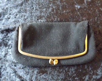 Vintage 1950's Black Wool Clutch Purse