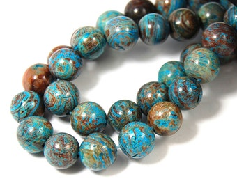 """Two 15.5"""" strands Imperial Turquoise Jasper Beads 10mm"""