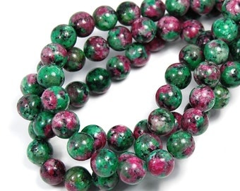 """Two 15.5"""" strands Ruby in Zoisite Beads 10mm"""