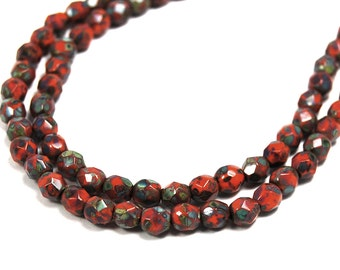100/pc Opaque bright Orange Picasso Czech 4mm Fire-polished Faceted Round Beads