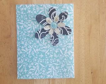 Blue Paisley Flower Blank Card