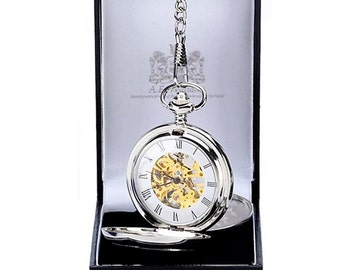 AE William Pocket Watch, Double Hunter. Engraved with your message, perfect wedding or anniversary present.