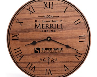 Gifts for dentists office, Gifts for dental office, Gifts for an orthodontist, Personalized and Unique Laser Engraved Clock