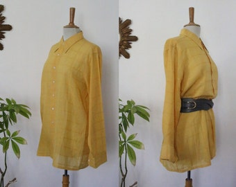 Shirt, blouse, Christian Dior unisex, long sleeves, yellow, vintage Plaid, made in France, size 42 FR UK 14 US 10, L, paris