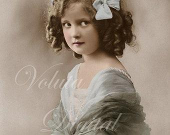 Cute girl looking shy. Digital download  -  Edwardian Vintage Postcard.