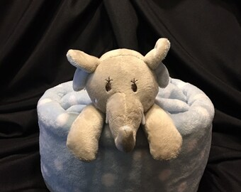 Baby Diaper Cake Gift With Plush Baby Blanket And A Security Blanket