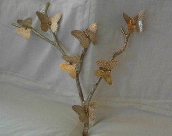 Price Reduced - Vintage Brass Butterflies on Branches