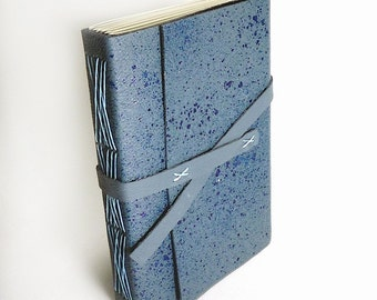 Blue Leather Longstitch Journal, Blank Journal Notebook, Sketchbook, Travel Journal