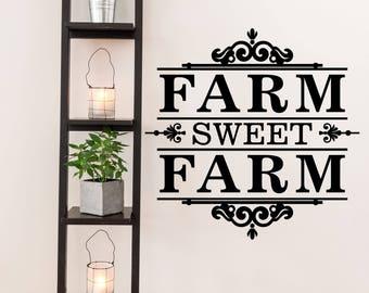 Farm Sweet Farm Farm and Garden Vinyl Wall Quote