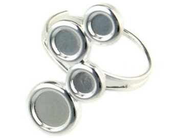 Adjustable Ring Blank with 4 Cups for cabochons or resin (5mm/6mm/8mm Cups) Silver Plated