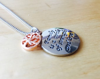 Family is a circle of strength and love necklace life tree of mother daughter necklace bicolor family tree mother's day Grandma gift
