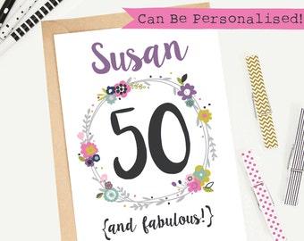 50th Birthday Card/Personalised/Customisable/Greeting Card/Illustrated/Blank/Female/Keepsake