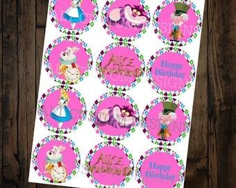 Alice in Wonderland Cupcake toppers - Alice in Wonderland Birthday decorations - Alice in Wonderland Birthday Party - Alice in Wonderland