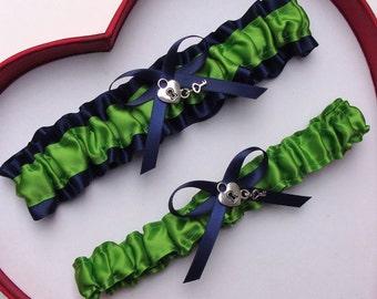 Wedding Garters Apple Green Navy Blue Set Keepsake Toss Prom Homecoming