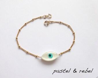 Evil eye mother of pearl bracelet