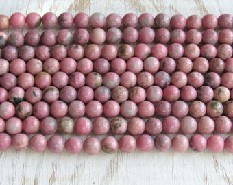 Rhodonite beads, 6mm rhodonite, pink rhodonite beads, full strand, pink gemstone beads, beads for malas, necklace beads, bracelet beads
