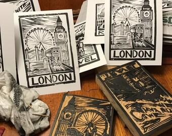 """Custom 3"""" x 5"""" Linocut Block Print"""