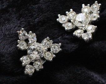 BNE #132 Vintage BOGOOF Clear Crystal Silver Tone Clip On Earrings