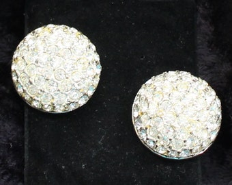 SO # 1035 Vintage Silver Tone Clear Rhinestone Cluster Clip On Earrings Marked Roman