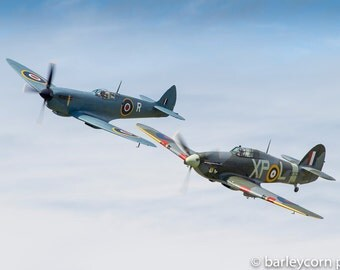 Battle of Britain duo-FREE POSTAGE-aviation photography-aviation art-gifts for men