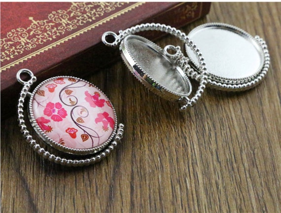 3 Pieces 25mm Inner Size Rotation Double Side Rhodium Cameo Cabochon Base Setting Charms