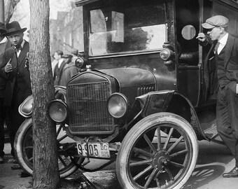 Old Car Photo, Ford, 1921, Black White Photograph, Car Art, Wall Decor, Home Decor, Art Print