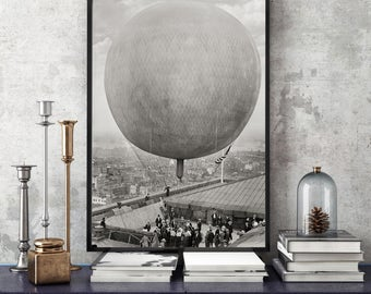New York City Photo, Hot Air Balloon, 1911, Black White Photography, Unique NYC Wall Decor, Wall Art, Photograph, Poster, Industrial Decor