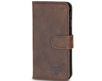 GAZZI Apple iPhone 7 case leather / iPhone 7 Plus Case Leather Book-Case Wallet-Case with all-round protection USED-LOOK Vintage Brown