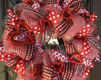ON SALE  Valentine Deco Mesh Wreath