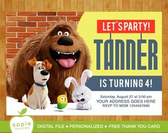 The secret life of pets invitation, The secret life of pets party, The secret life of pets birthday,  FREE Thank you Card!
