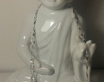 Necklaces 2 ranks beads Swarovski purple, cream and gray on silver chain