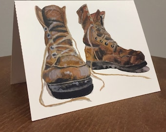 """Work Boots   Hiking Boots Card   Folded Card   Watercolor   4 x 5.5""""   Boots   Vintage Boots   Construction   Traveler Shoes   Note Card"""