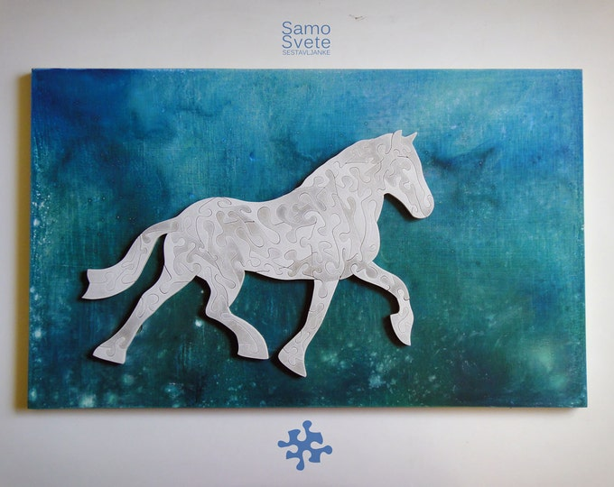 White Horse, Puzzle Art, Wooden Handmade, Complex Shapes, Smart Toy, Adult, Family Gift, Ready To Hang, Acrylic On Pieces by Samo Svete