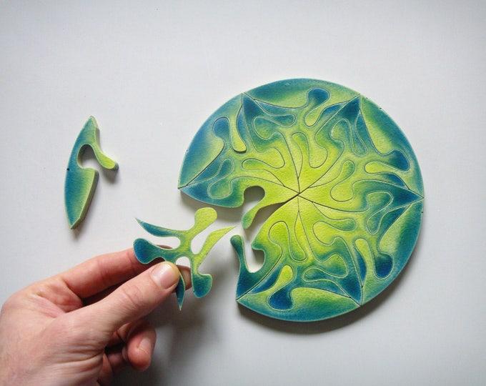 Beautiful Mandala Puzzle, Wooden, Handmade, Green Heart Chakra, With Frame, Ready to Hang