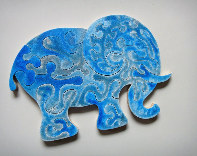 Puzzle Art: Elephant Strong, Smart toy, With Frame, Ready To Hang, Family Gift, Child Gift, Wooden Handmade, Acrylic On Pieces by Samo Svete