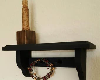 Primitive Country Black Shelf With Two Pegs Grungy Candle and Holder and Pipberry Ring