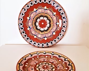Traditional Bulgarian Ceramic Plate, Vintage Pottery, Home Decor, Hand Painted Clay, Rustic Decor