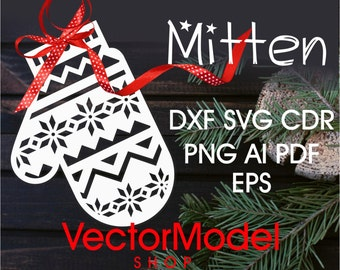 vector model  Christmas mitten wood and kraftcut - CNC Cut File Vector Art - Laser Cut - DXF - CAD drawing - Silhouette Cameo - Template