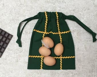 unique smallbag in green canvas with stripe yellow picot - reusable cotton bag - zero waste