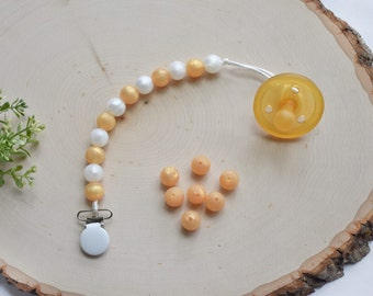 Gold&Pearl White Silicone Pacifier Clip