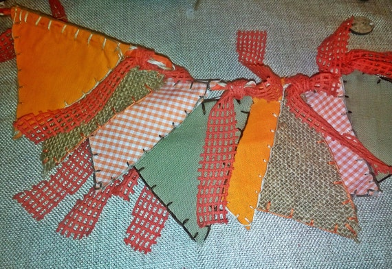 Double -sided Bunting Banner Fabric Pennant Flags-orange