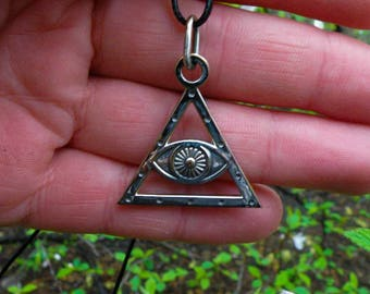 Silver All-Seeing Eye necklaces, Men masonic silver pendant, All-Seeing Eye signet necklaces, Weight 6g.