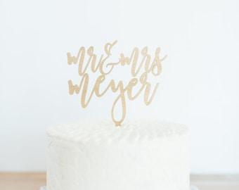 Custom Last Name Mr. & Mrs. Cake Topper