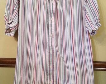 Upcycled Women's Tunic,Women's Tunic,Striped tunic,Women's striped tunic,women's shirt,women's upcycled shirt,women's summer tunic