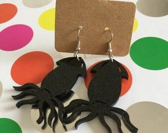Black glitter squiddy dangles - laser cut acrylic - Kirsty Lee Earrings