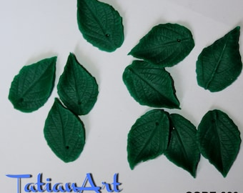 Green Leaves. 20 pcs double-sided leaf  0.62x0,98 inch Polymer clay beads Jewelry Supplies.