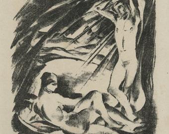 "ALEXANDER KNOLDT (German, 1881-1939), ""Bathers"", ca. 1919, original lithograph"