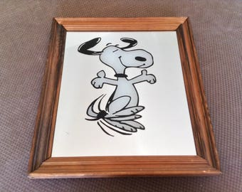 Vintage Snoopy Picture Mirror